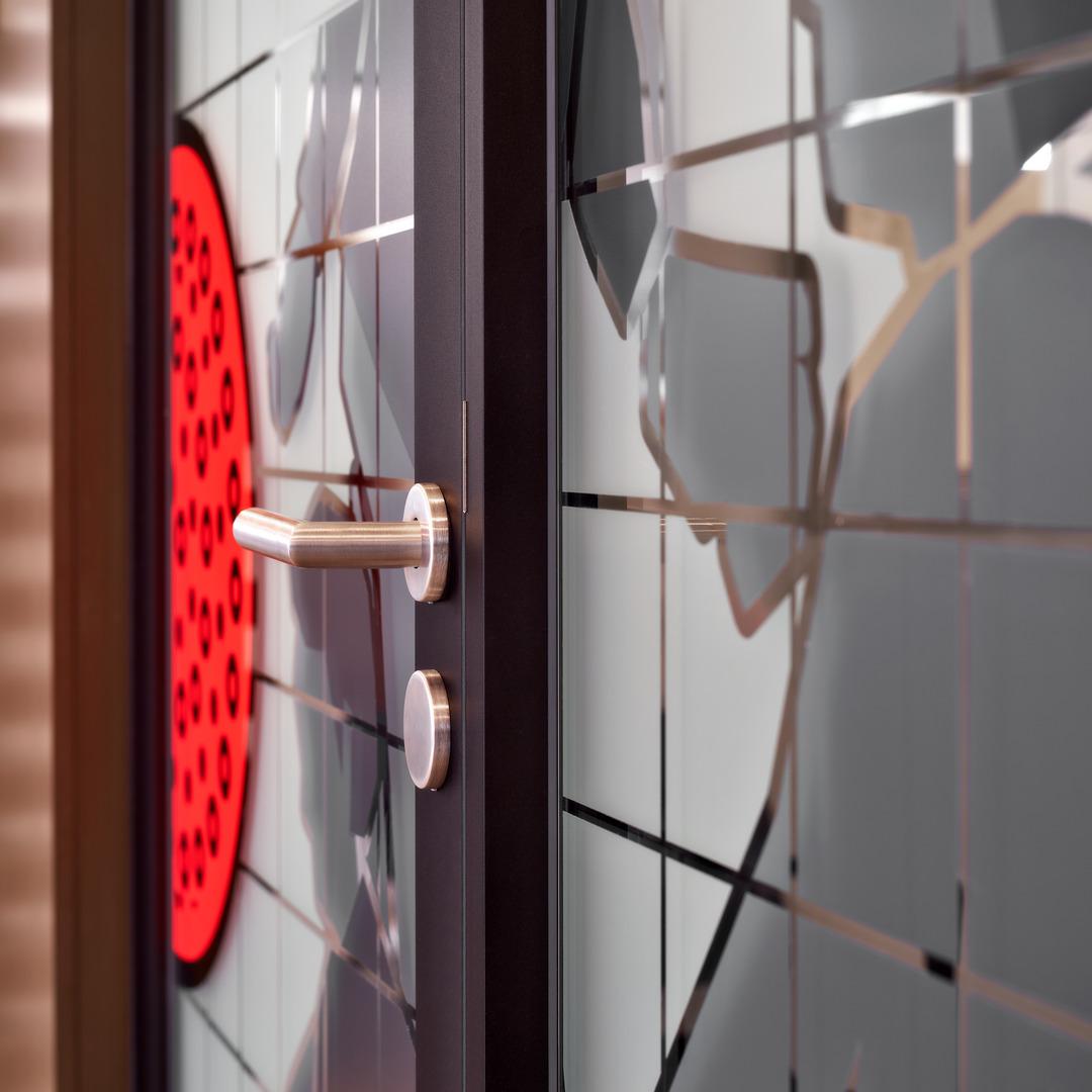 Aluminum framed door with glass