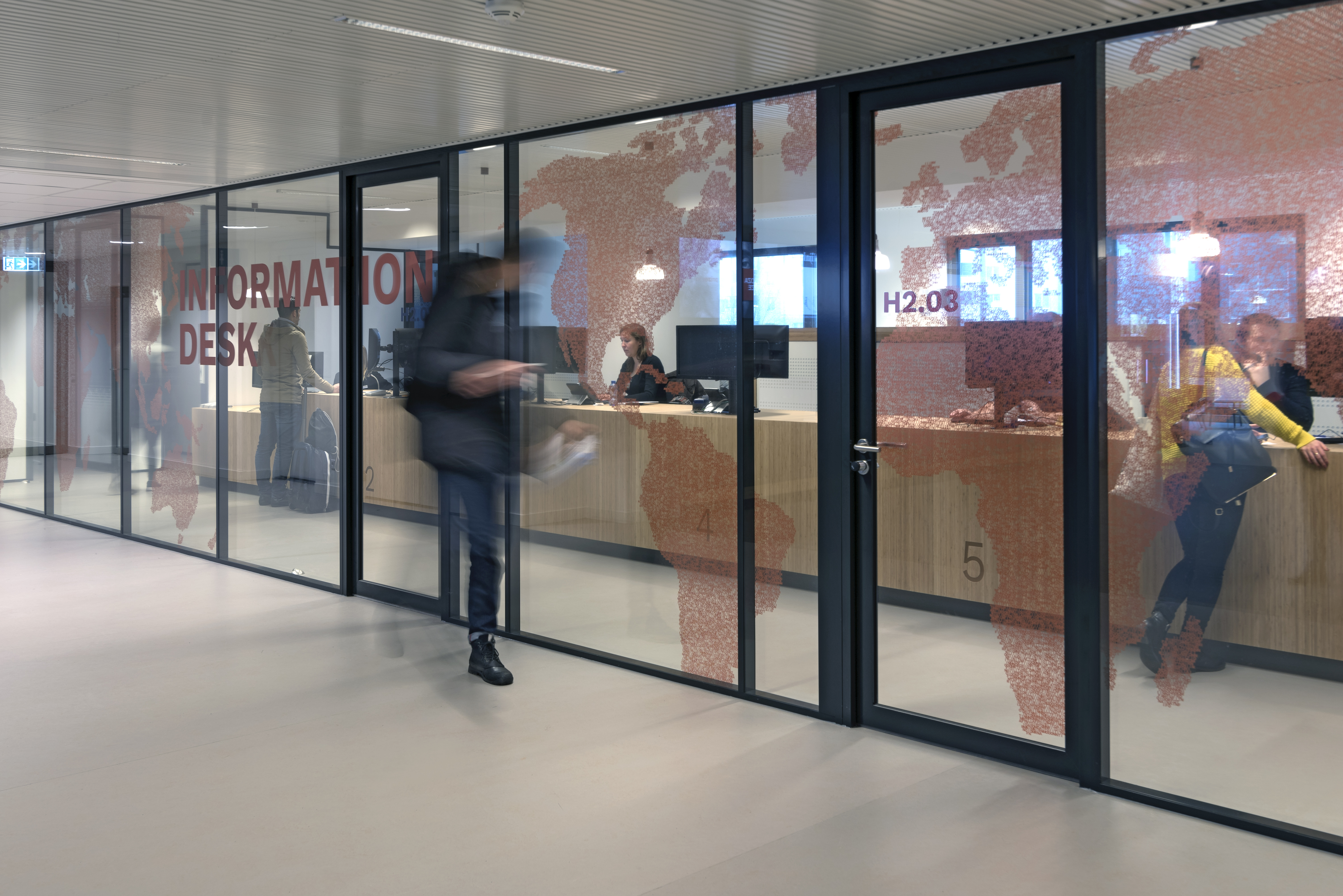 IQ-Pro partitions glass wall with vertical stands and vector design film added