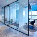 Office partition with glass and steel sections