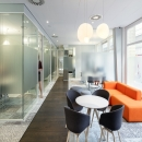 Offices made of double glass partition wall with high acoustic values.