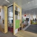 Circular office walls build of reused materials
