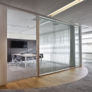 Full glass office wall with double glass