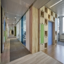 Office partition wall made of reused and recycled materials