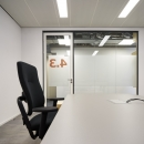 Office with a demountable glass wall.
