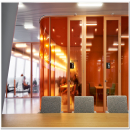 Meeting rooms with glass partition walls