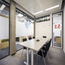 Conference room with seamless glass wall