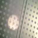 Double glass partition wall with a dots print film added
