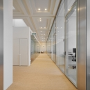 Corridor with on both sides IQ-Structural glass partitions wall and flush doors