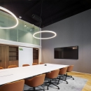 Boardroom with double glass walls at the mezzanine