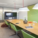 Conference room with single glass partition wall