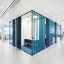 Blue colored system walls glass