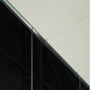 Ceiling extrusion detail from a QQ1 freestanding glass office