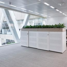 Office space with QbiQ Safety Glass partition