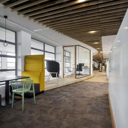 Wood combined with aluminum partition walls