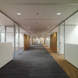 Hallway with offices on both sides