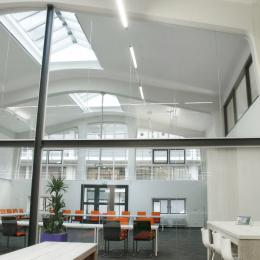 Extra high arc shape glass wall with double doors