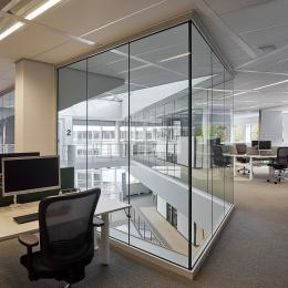 Fall through safe full glass fire resistant glass wall with IE60 certification