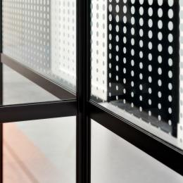 Corner detail of an old fashion industrial look glass partition