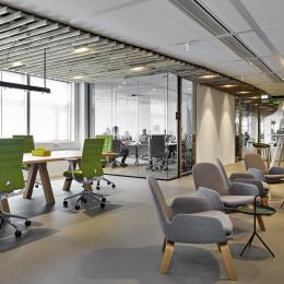 Warm interieur with wood elements and glass partitions walls