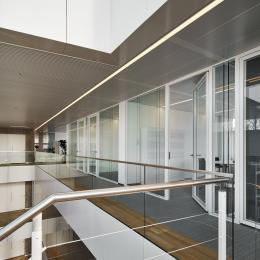 Glass office walls dividing the corridor