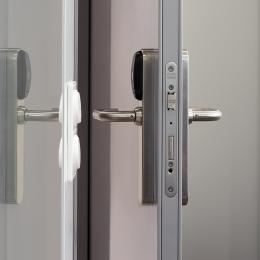 Steel door with aluminum frame and electronic lock