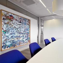 Partial glass and plasterboard demountable wall
