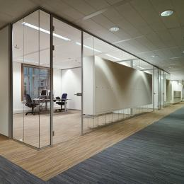 Glass walls with integrated cabinets