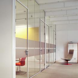 Multiple glass offices created with glass panels