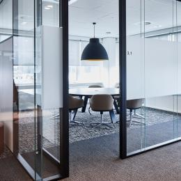 Double glass office partitions