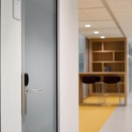 Partitions wall with steel door and electronic lock
