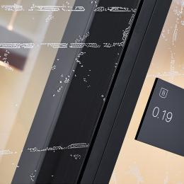 Detail flushdeur met folie in zwart uitgevoerd