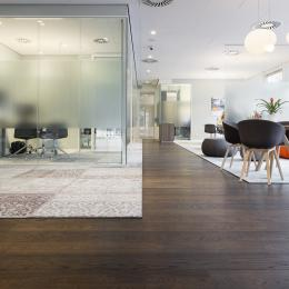 Conversation rooms for privacy in the main hall at Rabobank Capelle a/d Ijssel