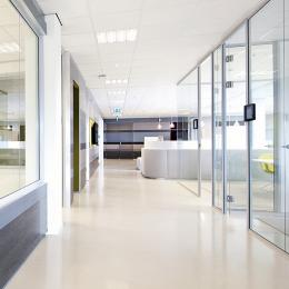Modern glass partitions wall in office
