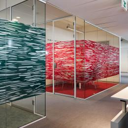Glass office made with partitions walls