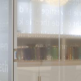 Closeup text design foil on glass wall