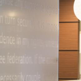 Glass wall with text design privacy film