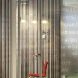 Full glass partitions wall with text design film added