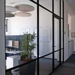 Route 66 glass partition with industrial look and feel
