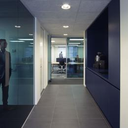 Office partition walls made of blue colored glass
