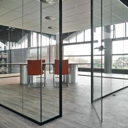 universal free standing glass office unit with full glass door
