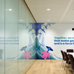 Inside a meeting room with partition covered with a printed film