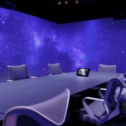 Meeting room with 360 degree projection at The Flow Houthavens Amsterdam