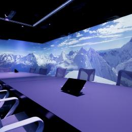 Meeting room with 360 degree projection of alps peaks with snow