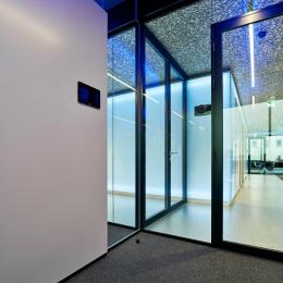 Fire resistant glass partition at The Flow Houthavens Amsterdam