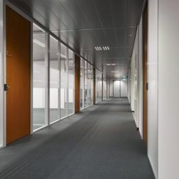 Corridor with partition walls and HPL-doors
