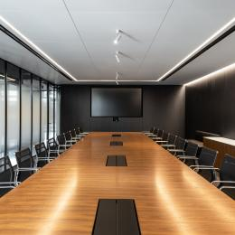 Boardroom with glass partition at Wordwide New York
