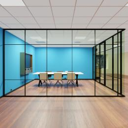 Glass partition with industrial look an feel