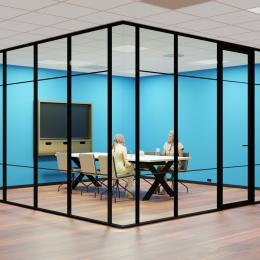 Glass partition with industrial look & feel