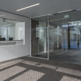 Double full glass doors at the entrance