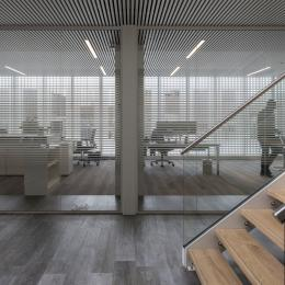 Corridor / office dividing partitions wall made with vector striping